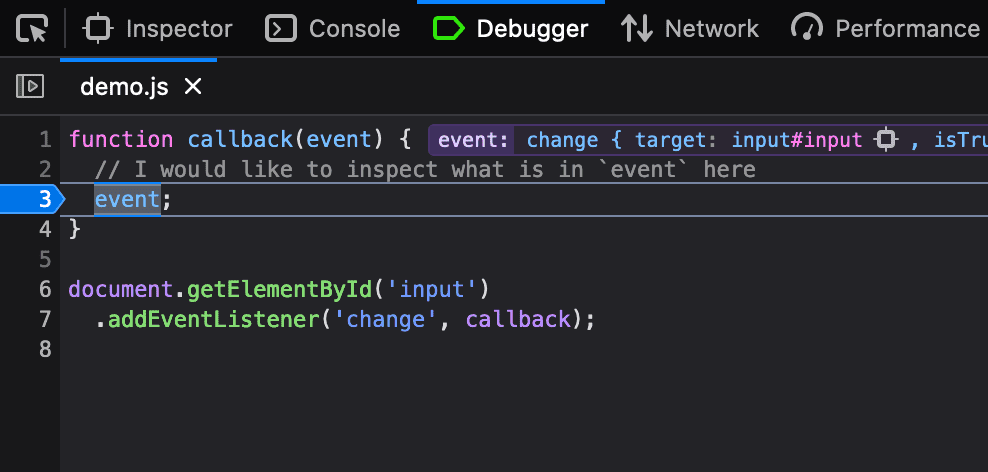 Manual breakpoint in Developer Tools
